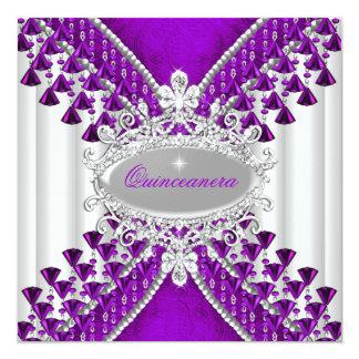 Purple Magenta White Quinceanera Birthday Party Card
