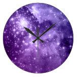 Purple Magic Stars Large Clock