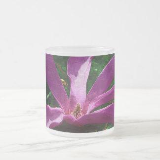 Purple Magnolia Blossom 10 Oz Frosted Glass Coffee Mug