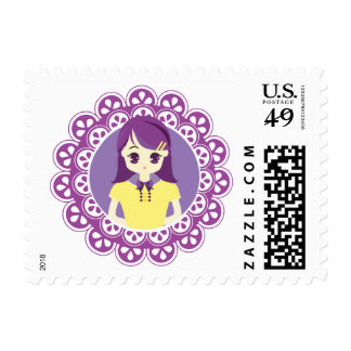 Purple Maid Girl Illustration Postage Stamp