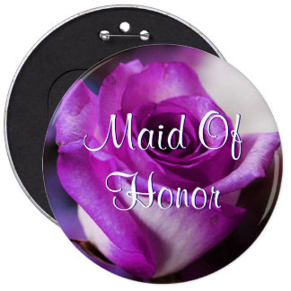 Purple Maid Of Honor Rose Button