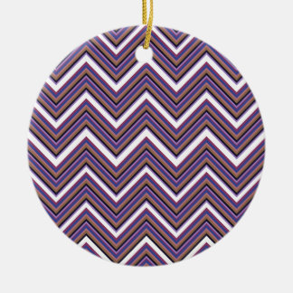 Purple Majesty Chevrons Ceramic Ornament