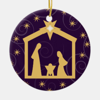 Purple Majesty Christmas Nativity Scene Ceramic Ornament