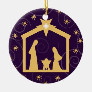 Purple Majesty Christmas Nativity Scene Double-Sided Ceramic Round Christmas Ornament