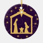 Purple Majesty Christmas Nativity Scene Ornaments