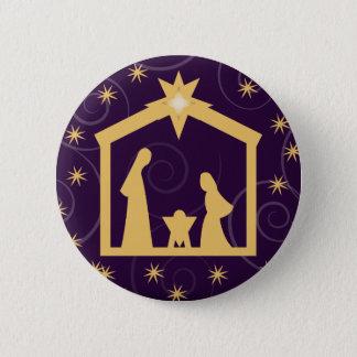 Purple Majesty Christmas Nativity Scene Pinback Button