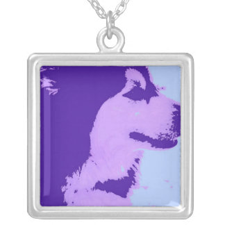 Purple Malamute Dog Silver Plated Necklace