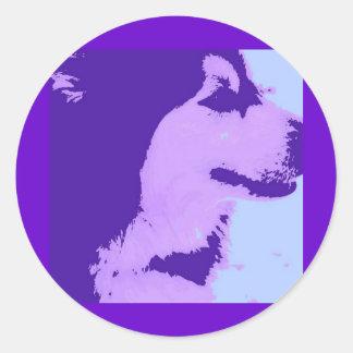 Purple Malamute Pop Art Classic Round Sticker