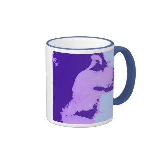 Purple Malamute Pop Art Ringer Coffee Mug