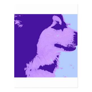 Purple Malamute Pop Art Postcard