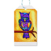 Purple male owl gift tags