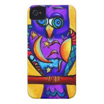 Purple male owl iPhone 4 Case-Mate case