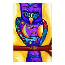 Purple male owl stationery