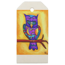 Purple male owl wooden gift tags