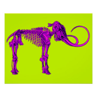 Purple Mammoth Skeleton Poster
