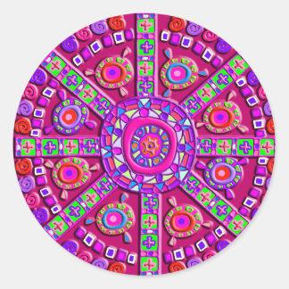 Purple Mandala Classic Round Sticker
