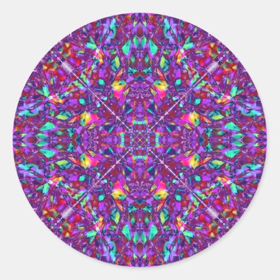 Purple Mandala Hippie Pattern Classic Round Sticker