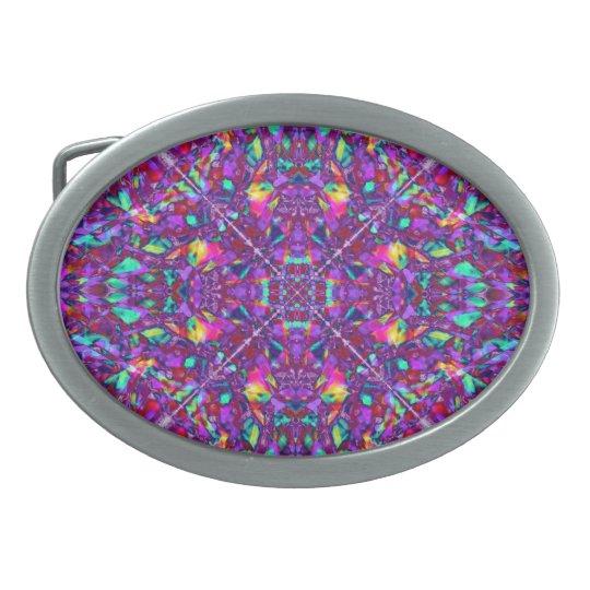 Purple Mandala Hippie Pattern Oval Belt Buckle