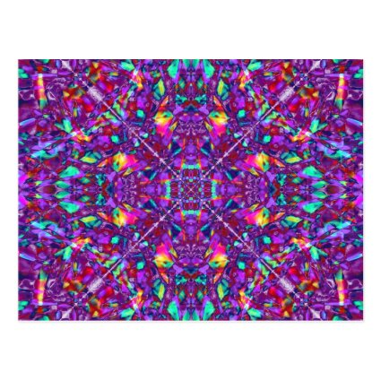 Purple Mandala Hippie Pattern Postcard