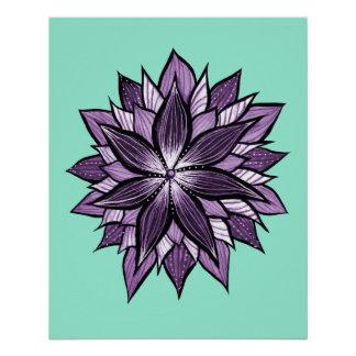 Purple Mandala Like Ink Drawn Abstract Flower Poster