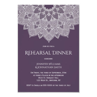 Purple mandala rehearsal dinner invitations
