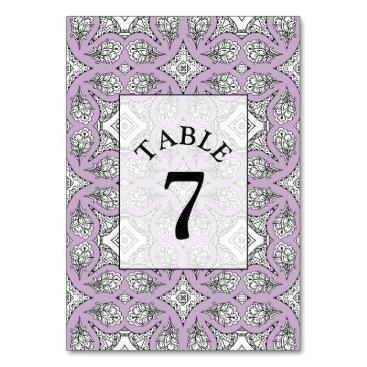 Wedding Themed Purple Mandala Wedding Table Number Card