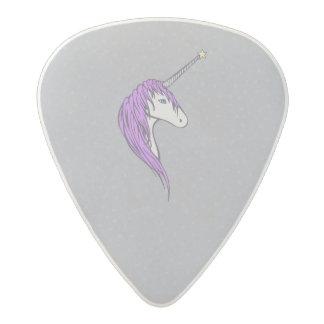 Purple Mane White Unicorn With Star Horn Acetal Guitar Pick