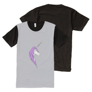Purple Mane White Unicorn With Star Horn All-Over-Print Shirt