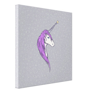 Purple Mane White Unicorn With Star Horn Canvas Print
