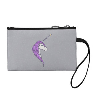 Purple Mane White Unicorn With Star Horn Coin Purse