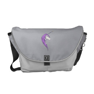 Purple Mane White Unicorn With Star Horn Courier Bag