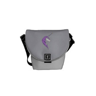 Purple Mane White Unicorn With Star Horn Messenger Bag