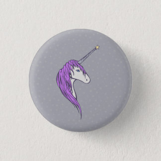 Purple Mane White Unicorn With Star Horn Pinback Button