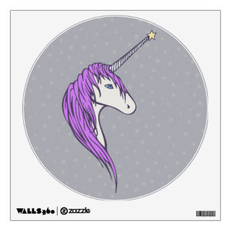 Purple Mane White Unicorn With Star Horn Wall Decal