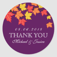 Purple Maple Leaf Fall Autumn Wedding Sticker