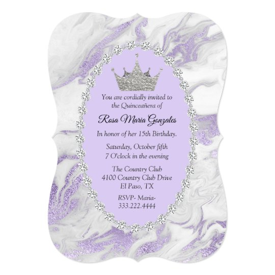 Purple Marble And Diamonds Crown Quinceanera Invitation