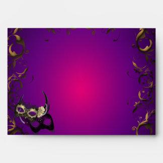 Purple Mardi Gras Mask Envelope