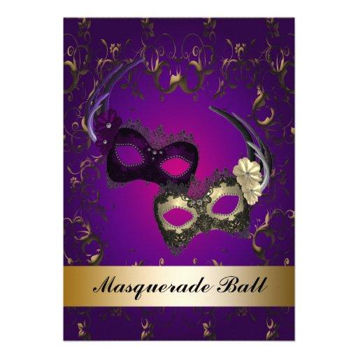 Purple Mardi Gras Masks Masquerade Party Custom Invite