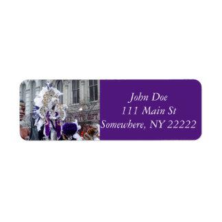 Purple Mardis Gras Zulu King Return Address Labels