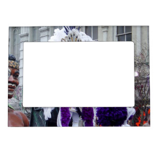 Purple Mardis Gras Zulu King Magnetic Picture Frame