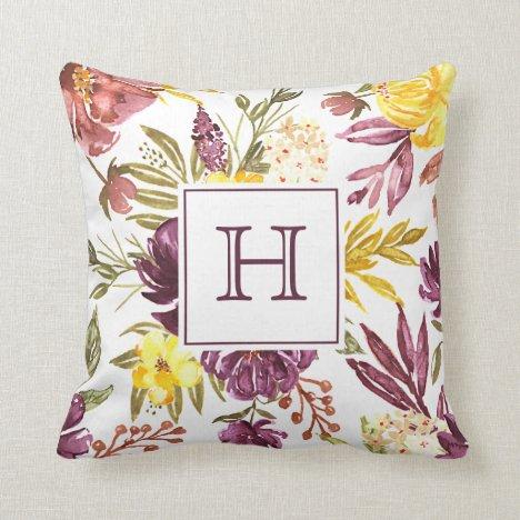 Purple Maroon Floral Watercolor Pretty Monogram Throw Pillow