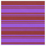 [ Thumbnail: Purple & Maroon Stripes Fabric ]