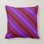 [ Thumbnail: Purple & Maroon Stripes Throw Pillow ]