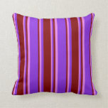 [ Thumbnail: Purple, Maroon & Violet Striped/Lined Pattern Throw Pillow ]