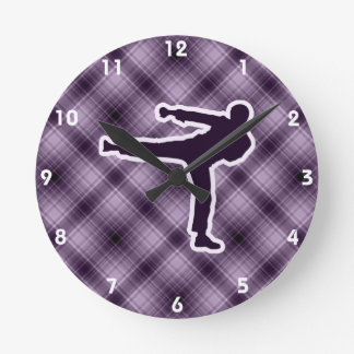 Purple Martial Arts Round Clocks