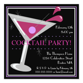 Purple Martini Cocktail Party Invitation