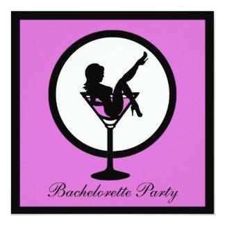 Purple martini glass girl bachelorette invites