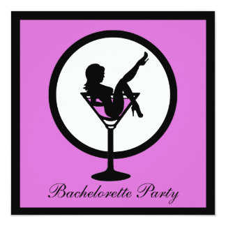 """Purple martini glass girl bachelorette invites 5.25"""" square invitation card"""