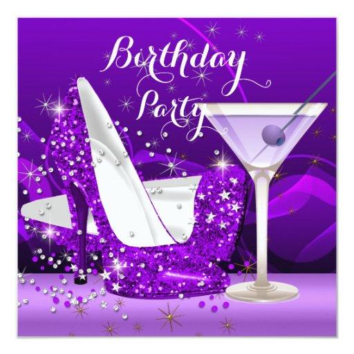 Purple Martini Glitter High Heels Birthday Party ...