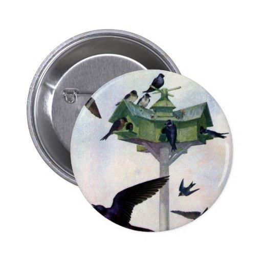 Purple Martins and Their Birdhouse 2 Inch Round Button